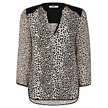 Buy Oasis Animal Print Notch Neck Shirt, Multi Online at johnlewis.com
