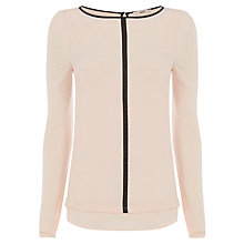 Buy Oasis PU Trim Woven Shirt, Pale Pink Online at johnlewis.com