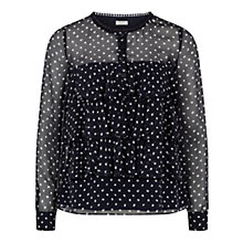 Buy Hobbs Lilly Spot Silk Blouse, Navy/Ivory Online at johnlewis.com