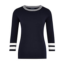 Buy Viyella Merino Tipped Jumper, Navy Online at johnlewis.com