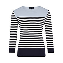Buy Viyella Colour Block Striped Top, Navy Online at johnlewis.com