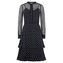 Buy Hobbs Lily Spot Silk Dress, Navy/Ivory Online at johnlewis.com