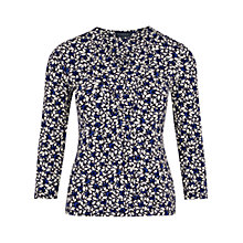 Buy Viyella Olive Print Jersey Top, Navy Online at johnlewis.com