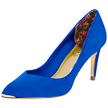 Buy Ted Baker Moniirra Metal Pointed Suede Court Shoes, Blue Suede Online at johnlewis.com