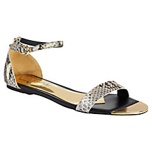 Buy Ted Baker Snakeskin Ballena Exotic Sandals, Black/White Online at johnlewis.com