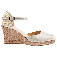 Buy Mint Velvet Gigi Linen Espadrille Sandals, Silver Online at johnlewis.com
