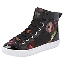 Buy Ted Baker Magdaelaine Print High Top Trainers, Black Print Online at johnlewis.com