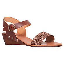 Buy Carvela Saskia Leather Wedge Heeled Sandals, Tan Online at johnlewis.com