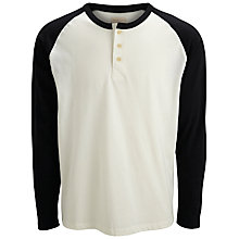 Buy Selected Homme Split Neck Top, Egret/Black Online at johnlewis.com