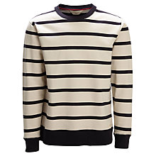 Buy Selected Homme Striped Crew Neck Sweatshirt, Bone White/Navy Online at johnlewis.com