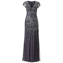 Buy Adrianna Papell Long Beaded Cap Sleeve Dress, Gunmetal Online at johnlewis.com