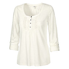 Buy Fat Face Lace Placket T-Shirt, Ivory Online at johnlewis.com