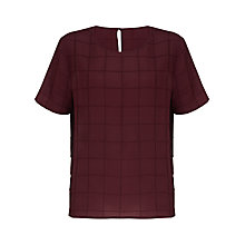 Buy Jigsaw Square Pintuck Top, Red Online at johnlewis.com