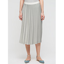 Buy Jigsaw Pleated Midi Skirt, Silver Online at johnlewis.com