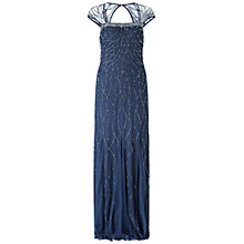 Buy Adrianna Papel Long Beaded Cap Sleeve Gown, Midnight Blue Online at johnlewis.com