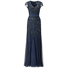 Buy Adrianna Papell Long Beaded Cap Sleeve Dress, Midnight Blue Online at johnlewis.com