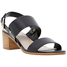 Buy Dune Jakob Block Heel Strap Leather Sandals, Black Online at johnlewis.com