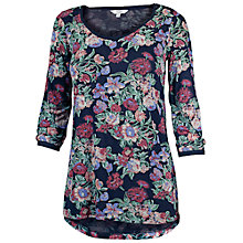 Buy Fat Face Garden Flower Sheared Shoulder Top, Navy Online at johnlewis.com