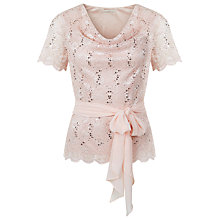 Buy Jacques Vert Cowl Neck Stretch Lace Top, Light Pink Online at johnlewis.com