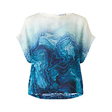 Buy Jigsaw Silk Agate Print Top, Teal Online at johnlewis.com