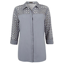Buy Mint Velvet Broderie Shirt, Bluebell Online at johnlewis.com
