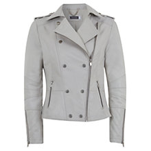 Buy Mint Velvet Leather Stud Biker Jacket, Stone Online at johnlewis.com