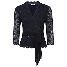 Buy Jacques Vert Petite Sequin Lace Cross Front Top, Monique Online at johnlewis.com