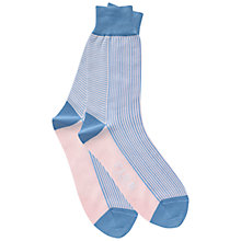 Buy Thomas Pink Whitworth Stripe Socks, Pale Blue/Pink Online at johnlewis.com