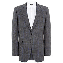 Buy Jaeger Textured Overcheck Linen Jacket, Blue/Grey Online at johnlewis.com