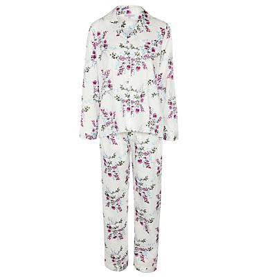 John Lewis Bloom Floral Pyjama Set, Cream / Violet