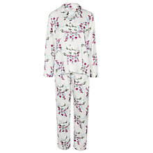 Buy John Lewis Bloom Floral Pyjama Set, Cream/Violet Online at johnlewis.com