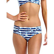 Buy Seafolly Inked Stripe Ruched Retro Bikini Briefs, Blue / White Online at johnlewis.com