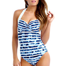 Buy Seafolly Inked Stripe Halter Swimsuit, Blue / White Online at johnlewis.com