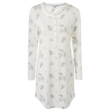 Buy John Lewis Fern Print Jersey Nightdress, Ivory/Grey Online at johnlewis.com