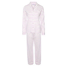Buy John Lewis Stripe Jersey Pyjama Set, Ivory / Violet Online at johnlewis.com
