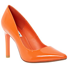 Buy Dune Alwen Pointed Toe Patent Court Shoes, Orange Online at johnlewis.com