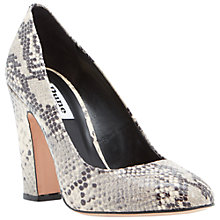 Buy Dune Aubree Block Heel Leather Court Shoes, Natural Online at johnlewis.com