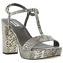 Buy Dune Jilly T-Bar Block Heel Sandals, Grey Online at johnlewis.com