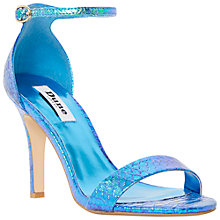Buy Dune Hydro Two Part Ankle Strap Reptile Sandals, Blue Metallic Online at johnlewis.com