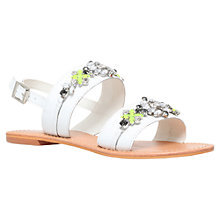 Buy Miss KG Dandie Embellished Flat Leather Sandals, White Online at johnlewis.com