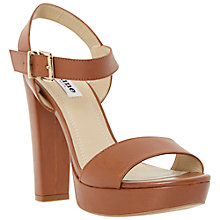 Buy Dune Mariella Block Heel Leather Platform Sandals, Tan Online at johnlewis.com