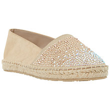 Buy Dune Guessed Flat Embellished Espadrilles, Gold Leather Online at johnlewis.com