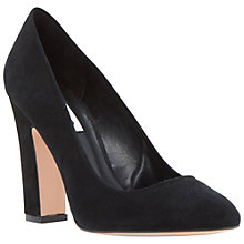 Buy Dune Aubree Block Heel Suede Court Shoes, Black Online at johnlewis.com