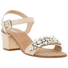 Buy Dune Mahala Block Heel Gem Strap Leather Sandals, Blush Online at johnlewis.com