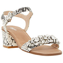 Buy Dune Mahala Embellished Leather Sandals, Black/White Online at johnlewis.com
