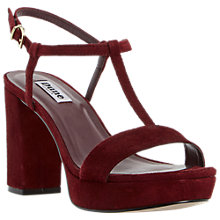 Buy Dune Jilly T-Bar Block Heel Sandals, Burgundy Online at johnlewis.com
