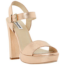 Buy Dune Mariella Block Heel Leather Sandals, Rose Gold Online at johnlewis.com