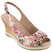 Buy Hotter Hattie Canvas Floral Detail Wedges Online at johnlewis.com