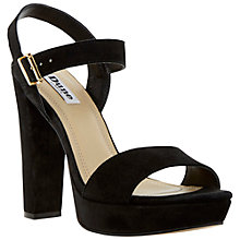 Buy Dune Mariella Block Heel Suede Sandals, Black Online at johnlewis.com