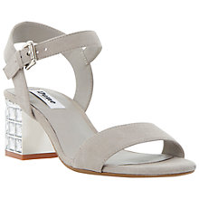 Buy Dune Harah Jewelled Block Heeled Sandals, Grey Suede Online at johnlewis.com